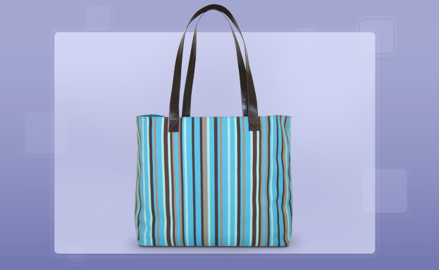 Beach Totes: Blue & Brown Stripes Beach Bag