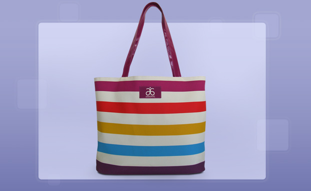 Beach Totes: Rainbow Stripes Beach Bag