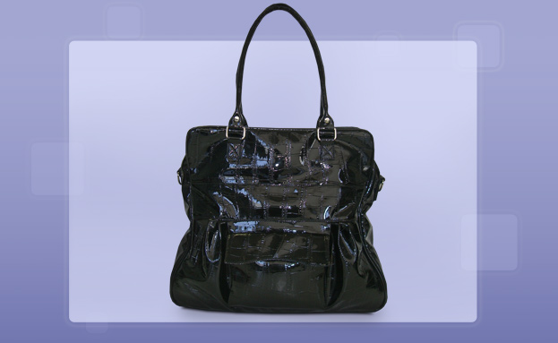 Fashion Handbags: Black Croc Tote